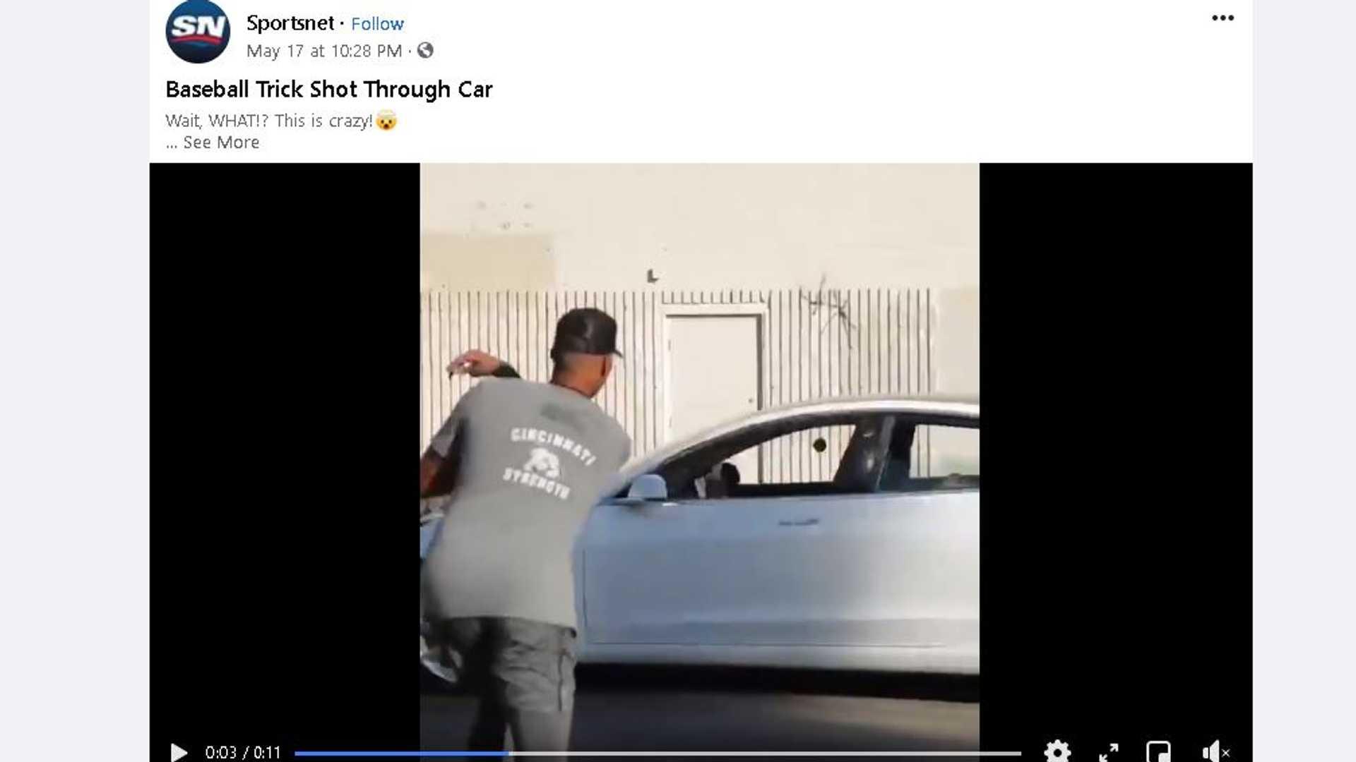 Смотрите этот эпичный бейсбольный бросок через движущееся окно Tesla Model 3