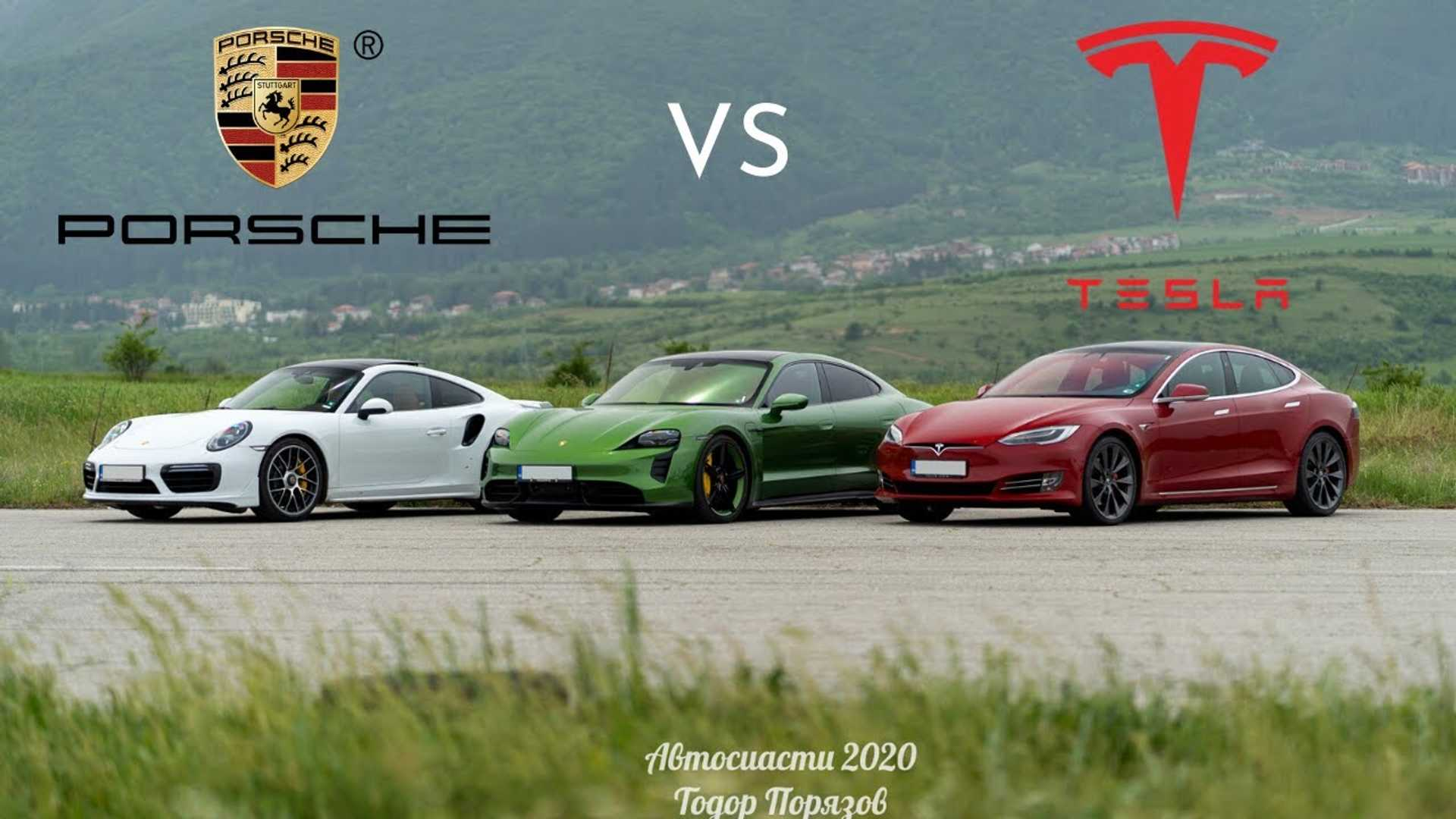 Часы Tesla Модель S P100D против Porsche Taycan Turbo S Drag Race