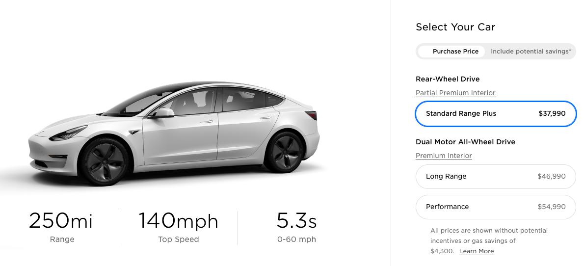 Тесла снижает цены на тысячи - стандартный ассортимент плюс модель 3 сейчас $ 37,990.