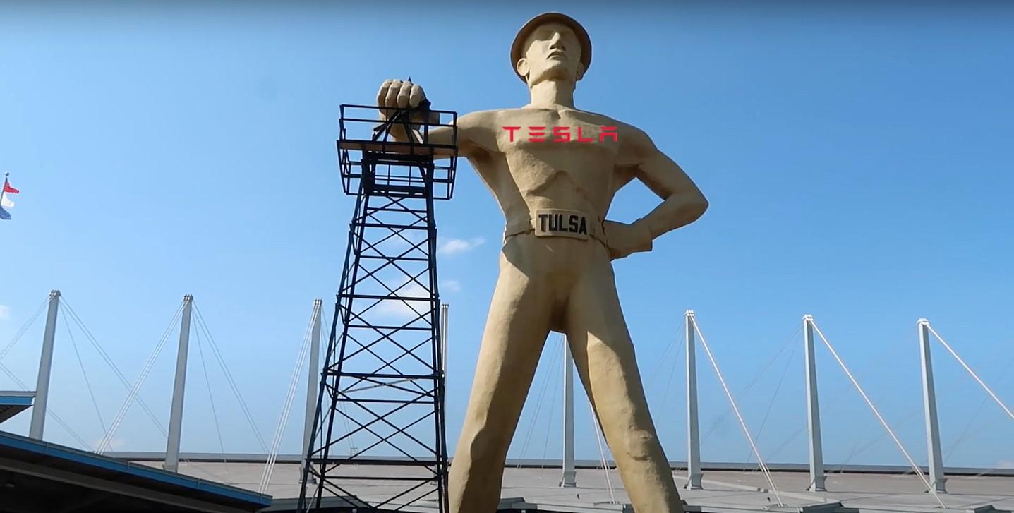 """Тесла берет на себя Талсу, знаменитую статую """"Золотой бурильщик"""" в Оклахоме"""