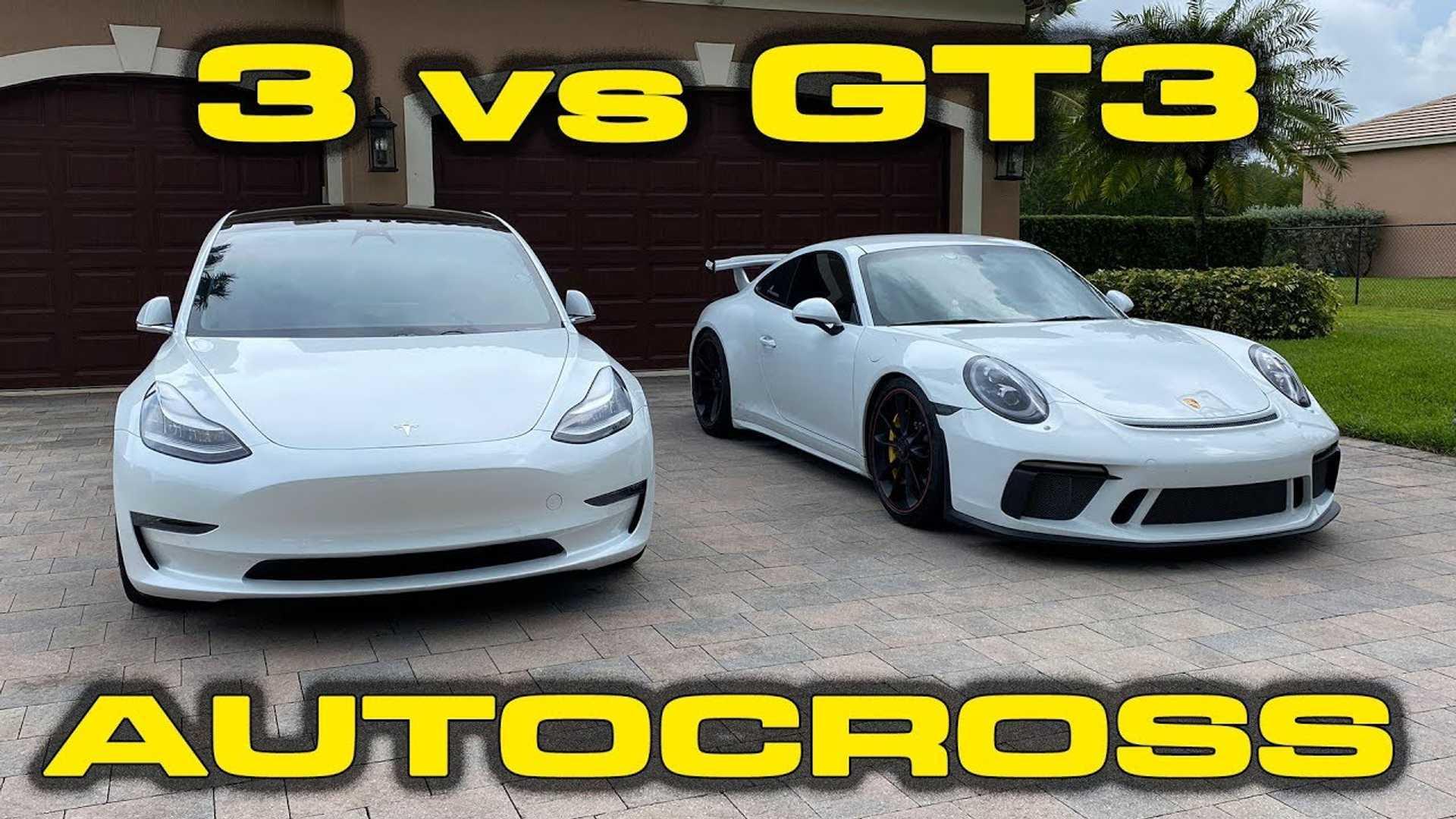 Наблюдайте за производительностью Porsche 911 GT3 Challenge Tesla Model 3 в автокроссе