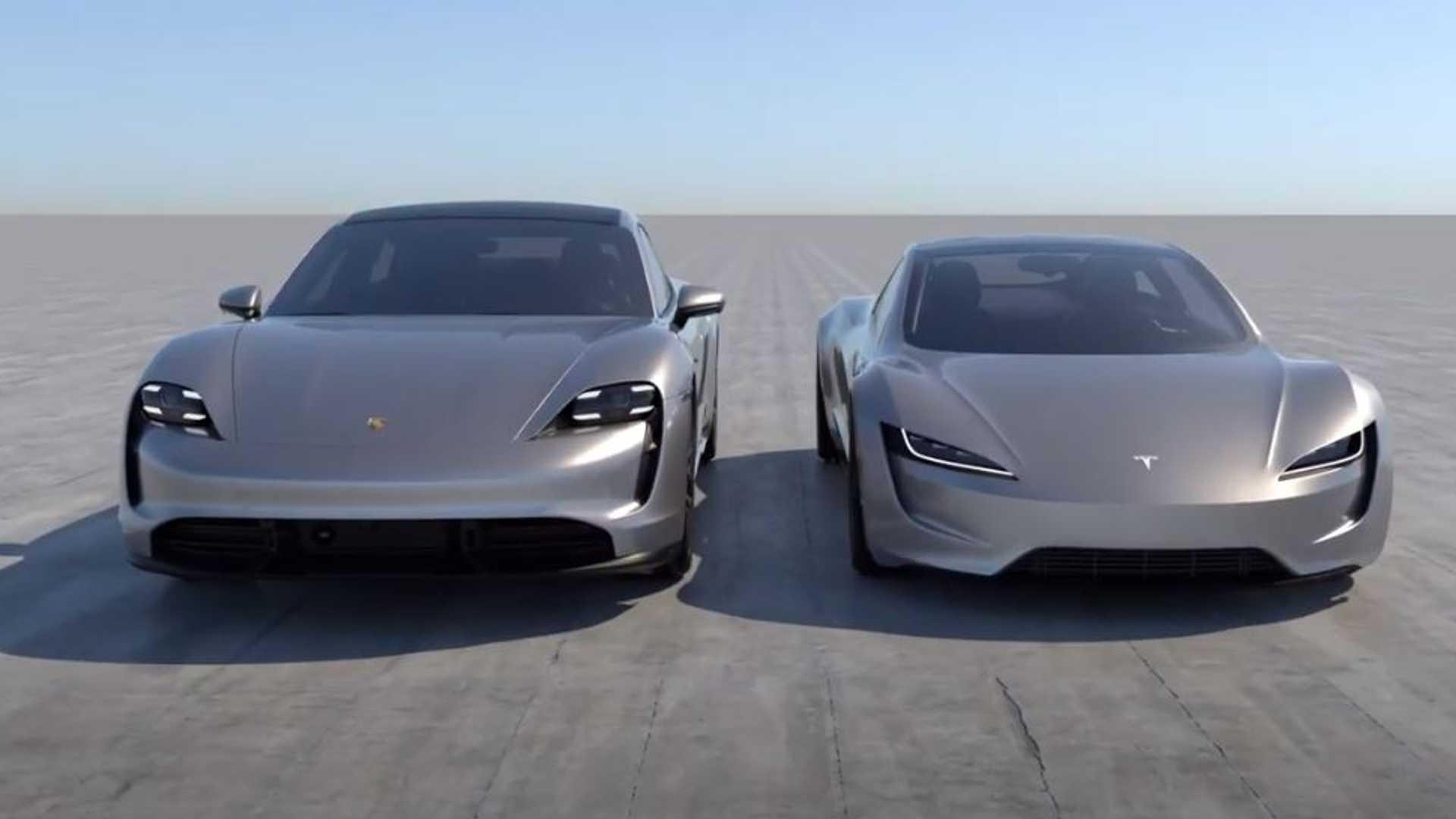 Смотрите новый родстер Tesla рядом с Porsche Taycan: разница в размерах огромна
