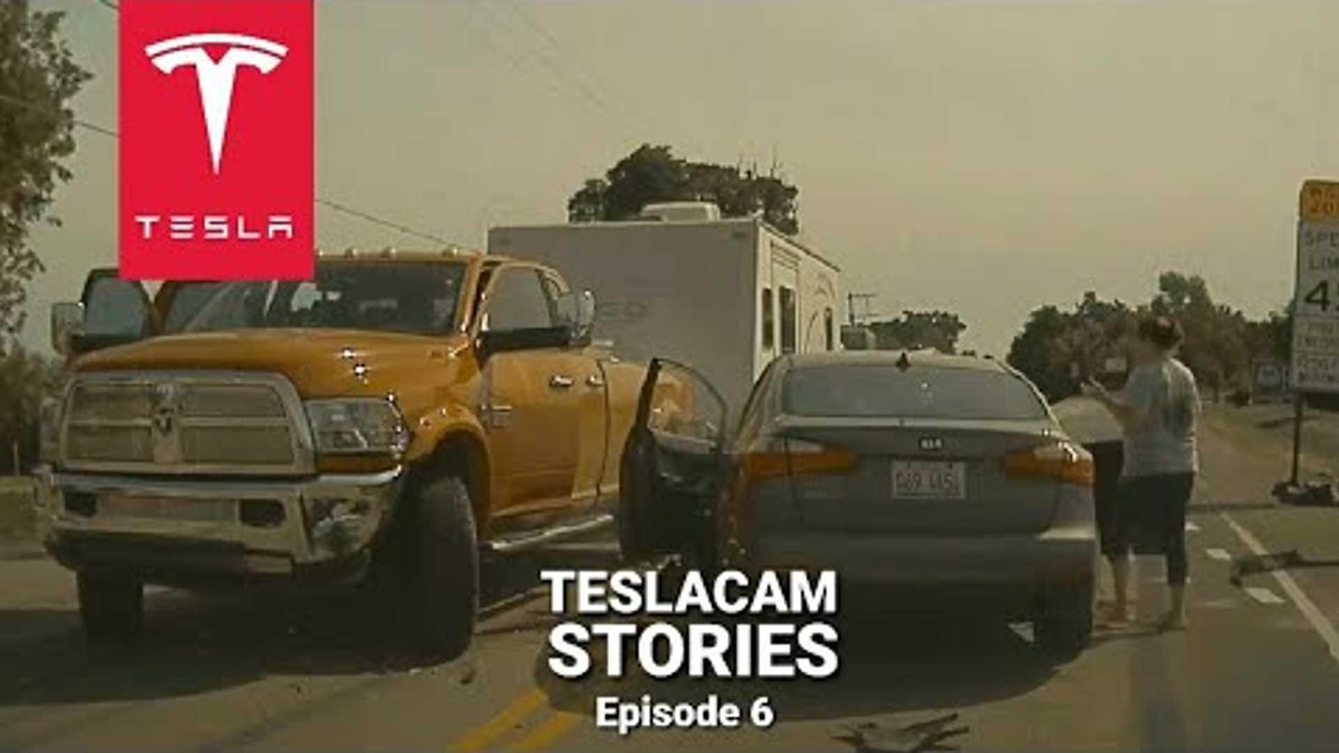 Tesla Model 3 TeslaCam ловит аварию внедорожника с несколькими ролловерами
