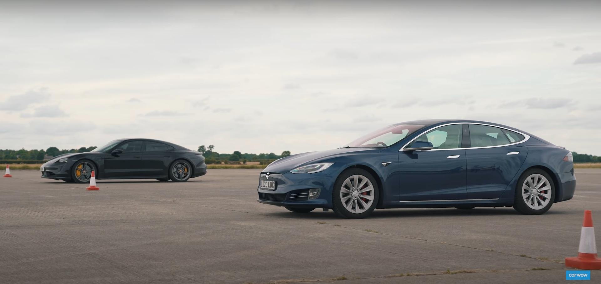 Tesla Model S «Cheetah Mode» и Porsche Taycan Turbo S столкнулись в тесте на чистую мощность