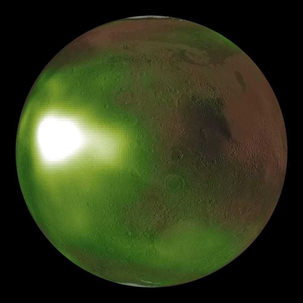 Невидимые полярные сияния Марса оживают в новой анимации НАСА
