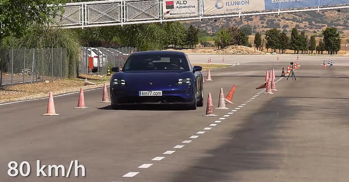 Porsche Taycan принимает участие в Moose Test и преклоняется перед рекордом Tesla Model 3