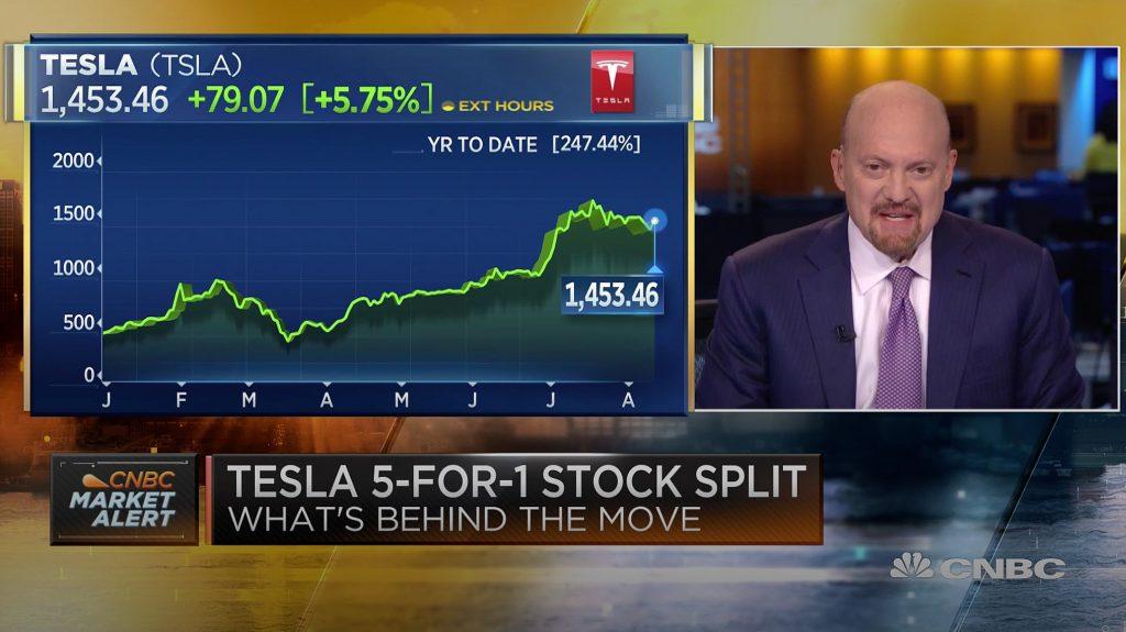 Разделение акций Tesla (TSLA) пользуется поддержкой Джима Крамера