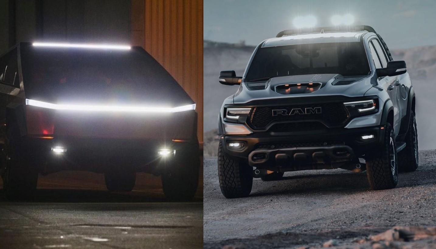 Tesla Cybertruck Tri-Motor на удивление доступен по цене по сравнению с RAM 1500 TRX