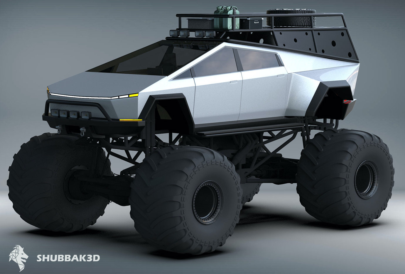Концепция Tesla 'Monster' Cybertruck заставляет традиционные грузовики-монстры выглядеть ручными
