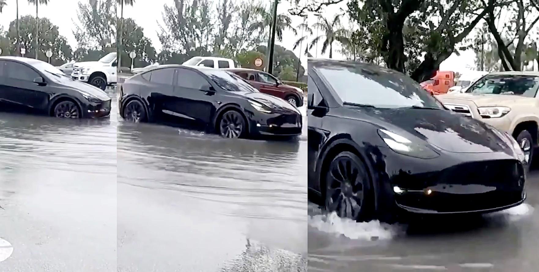 Tesla Model Y уверенно покоряет затопленные парковки без водителя