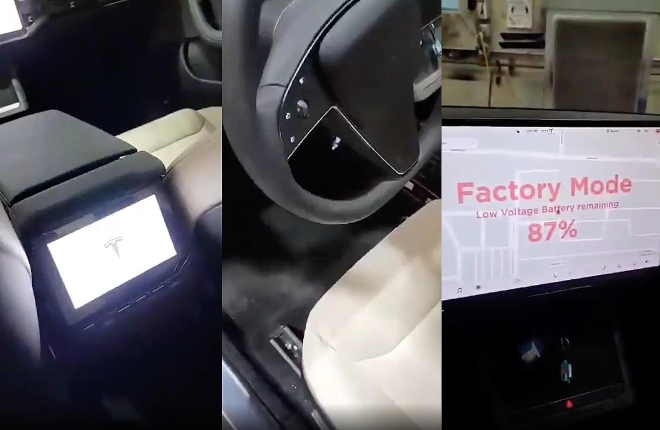 Обновленный интерьер Tesla Model S: 8-дюймовый экран 2-го ряда, кнопки на рулевом колесе, 17-дюймовый дисплей