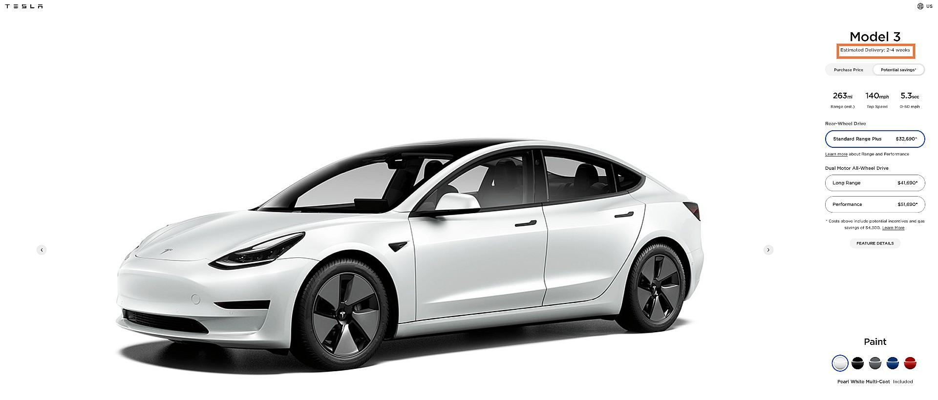 Tesla сокращает сроки поставки Model 3 в конце квартала