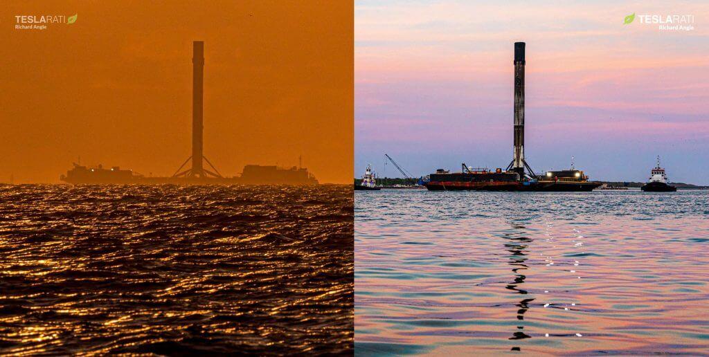 Ракеты SpaceX Falcon 9 и корабль-дрон - вау с закатом и восходом солнца - возвращаются в порт