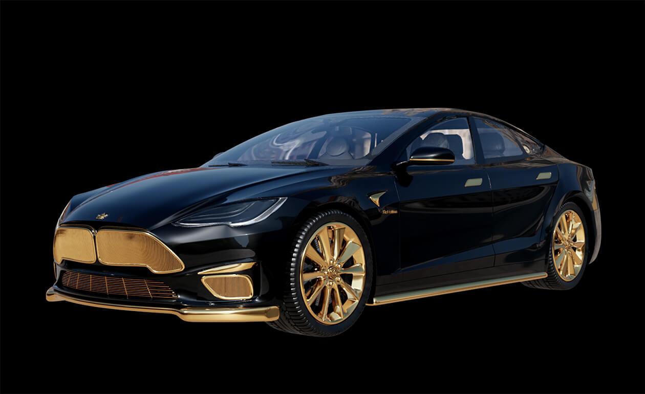 Концепт-кар Tesla Model S Plaid + покрыт золотом, и вы можете купить его