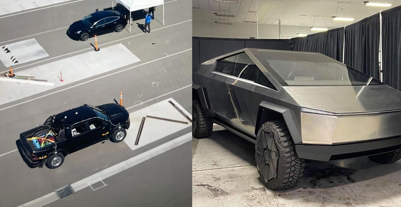 Пикап RAM TRX замечен на заводе Tesla во Фремонте в ходе очевидных тестов Cybertruck
