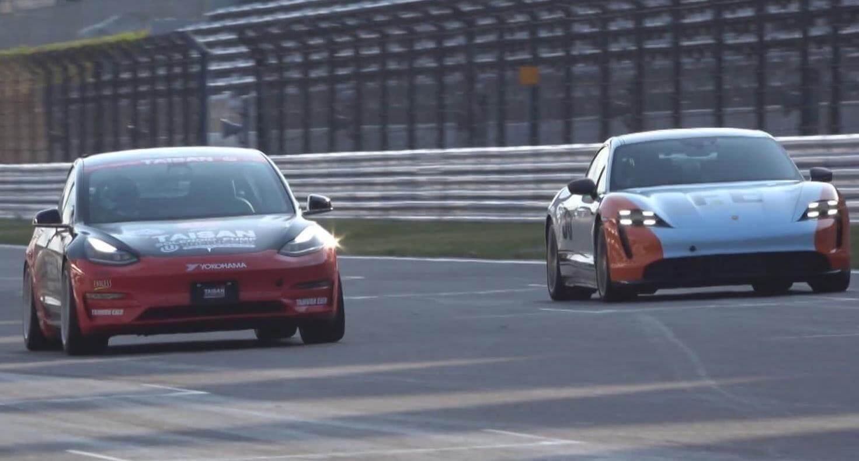 Tesla Model 3 соревнуется с Porsche Taycan Turbo S в трековой гонке - с удивительными результатами