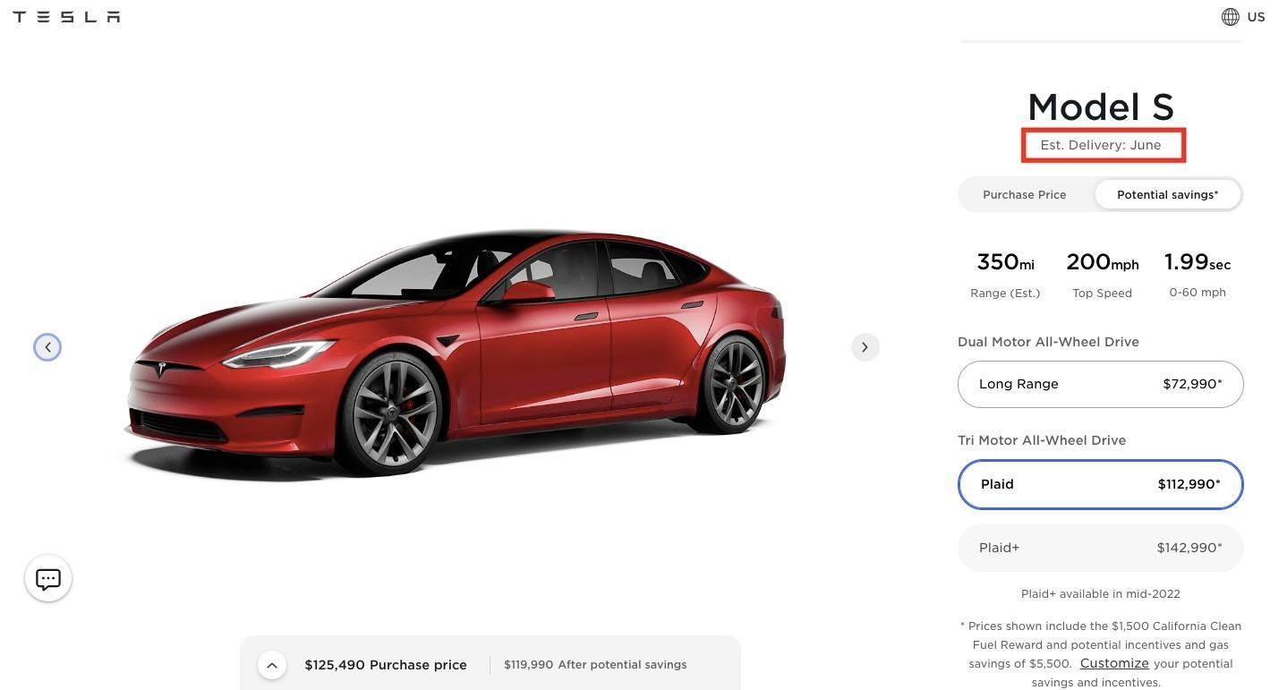 Tesla Model S Plaid обновляется с предполагаемой датой доставки в июне
