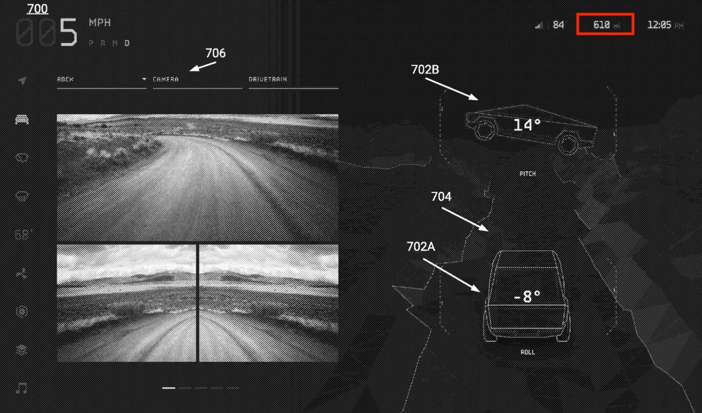 Патент на Tesla Cybertruck UI намекает на дальность действия 610 миль, настройки зеркала слежения за глазами