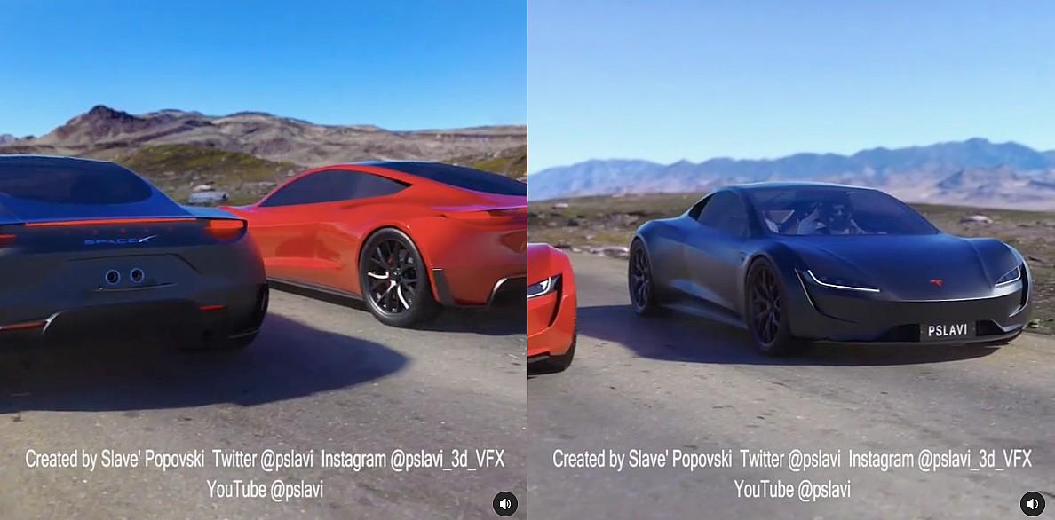 1.1-секундная симуляция запуска пакета Tesla Roadster SpaceX прямо из научной фантастики