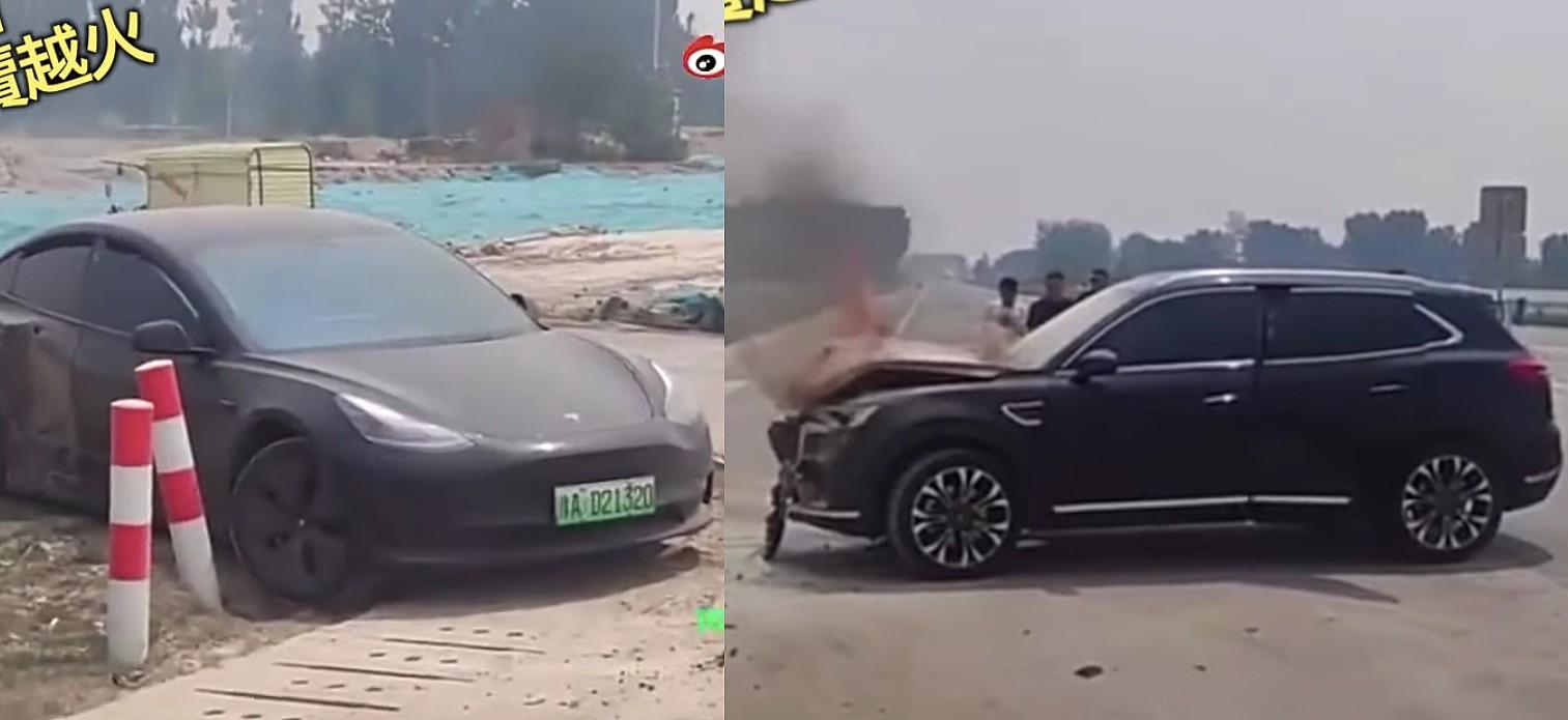 Tesla Model 3 отреагировала от аварии на Т-образной кости, из-за которой газовый внедорожник загорелся