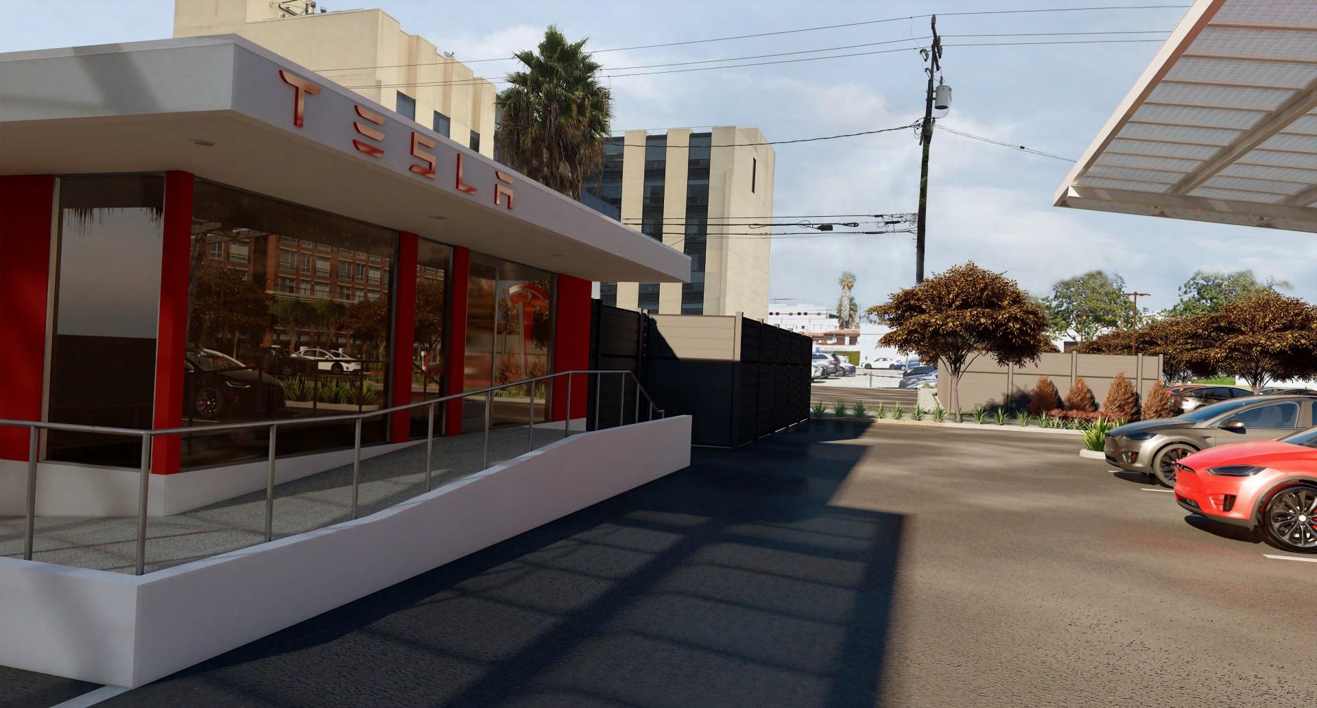 Tesla Santa Monica Supercharger вообразили в новых рендерах, но где же закусочная 50-х?