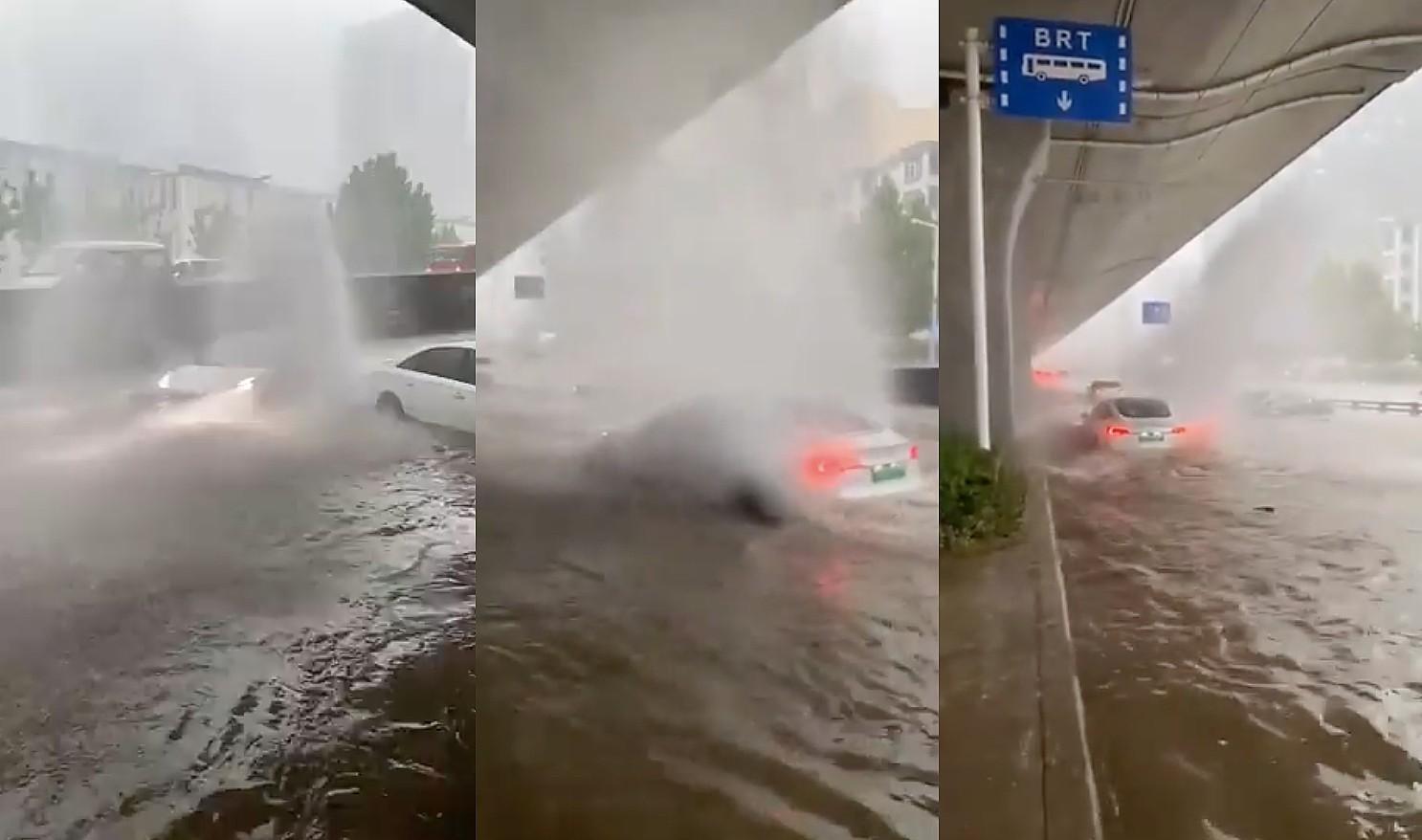 Безумные кадры с Tesla показывают, как Model 3 атакует глубокие паводки в Китае