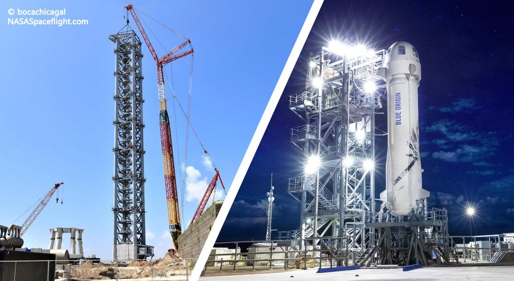 SpaceX возглавил стартовую вышку Starship во время брифинга экипажа Blue Origin